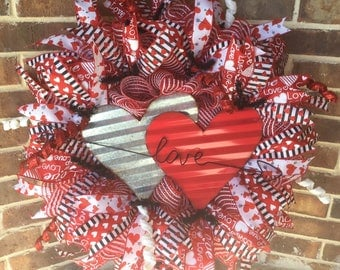 Valentine's Day Wreath, Hearts, Love, Deco Mesh, Ribbons