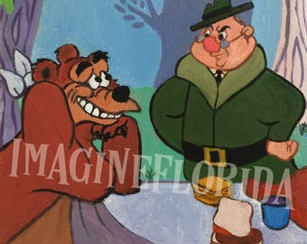 Humphrey the Bear and Ranger Cartoon 6x6 Acrylic on Canvas - Original Painting - Disney Inspired Artwork - Vintage Retro