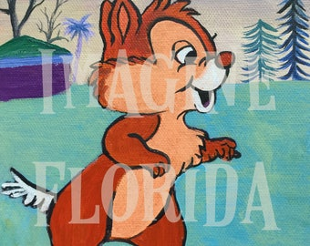 DALE - Chip and Dale Cartoon 6x6 Acrylic on Canvas - Original Painting - Disney Inspired Artwork - Vintage Retro