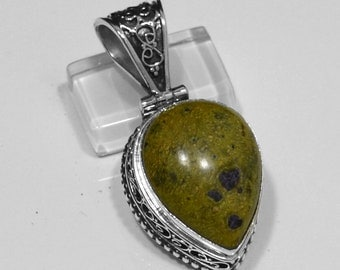 """Sterling Silver Sugilite Pendant, Silver Pendant, Sugilite Pendant, Sugilite .925 Sterling Silver Pendant 2""""x0.8"""" (With Bail)"""