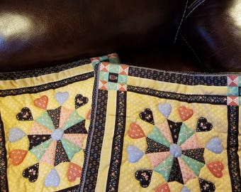 hand quilted pillows covers for a 16 x16 pillows or 18 x18