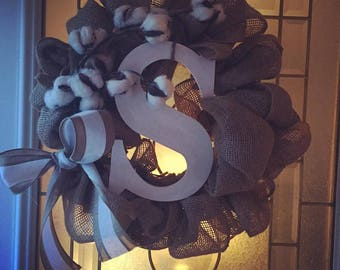 Fall Wreath with Cotton