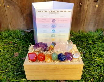 Healing Crystals and Stones Chakra Set + 7 Tumble Stones Set Perfect Gift, Amethyst Cluster, Rose Quartz, Meditation, Reiki, Energy Healing