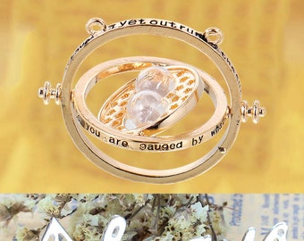 Harry Potter Inspired Time Traveling Turner Spin Gold Plated Charm Pendant w Quote Hour Glass Moving Necklace Hermione