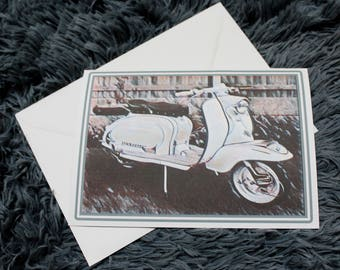 Lambretta Scooter Blank Greeting Card with Envelope