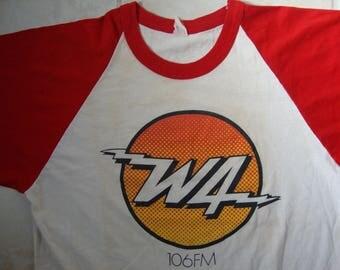 Vintage 80's 106FM W4 Radio Station Raglan Shirt Size M