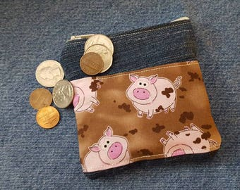 Pig Denim Coin Purse