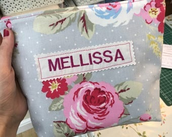 Personalised makeup bag with wipeable inside