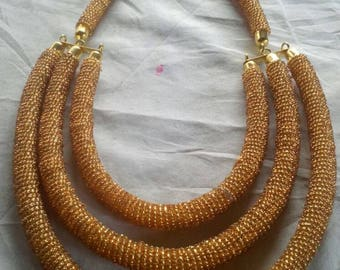 African Maasai  Necklace /African Beaded Neckklace / Ethnic Jewelry / Gold Necklace  / Gift For Her / Beautiful African Necklace .