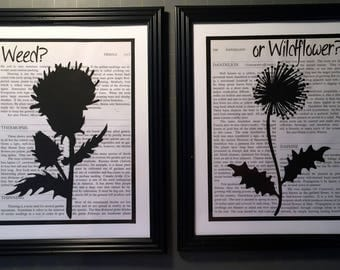 Weed or Wildflower? prints on vintage encyclopedia page, set of 2
