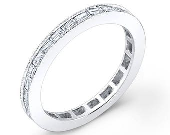 14K White Gold, Diamond Stackable ring