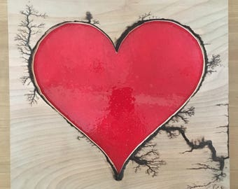 Electric heart, Wood burn and Epoxy