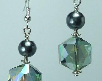 "Jewelry Silver earrings ""Crystal iridescent hematite"""