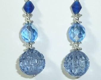 """Jewelry Silver earrings """"Crystal sky ball"""""""