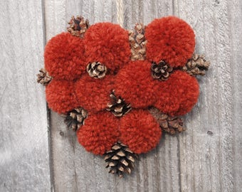 Hanging Heart , Ginger Marmalade Red, pinecones, pompoms