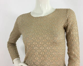 90s lace top/stretch lace top/beige lace top