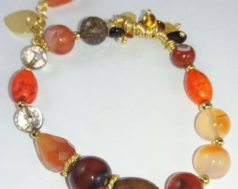 Carnelian and Wood Bracelet