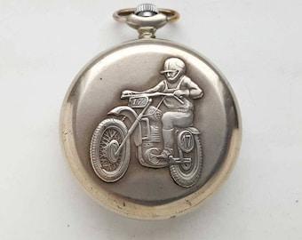 Vintage Soviet Quartz pocket watch MOLNIJA. MOTORCYCLIST USSR.