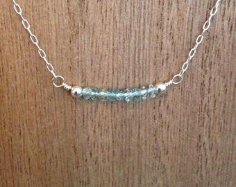 Aquamarine necklace/ gemstone necklace/ beaded bar necklace/ birthstone necklace
