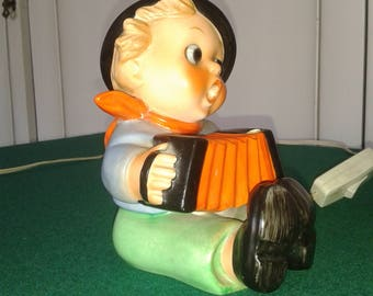 1960 Hummel Goebel porcelain figurine Boy with accordion sculpture made in GERMANY