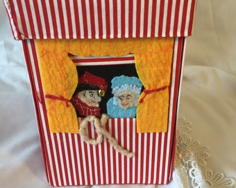 Punch and Judy Fabric Covered Pencil Box