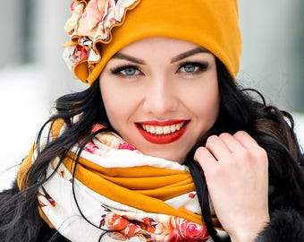Set Hat with Flower and Infinity Scarf Large Wraparound Warm Winter Beanie Neckwarmer Scarf Christmas Gift For Her