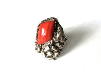 Vintage Sterling Silver Native American Navajo Coral Stone Ring Size – S