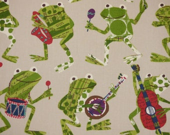 P Kaufmann FREDDIE ROCKER Rock N Roll Frogs Musical Instruments Cotton Home Decor Drapery Upholstery Sewing Fabric By the Yard BTY