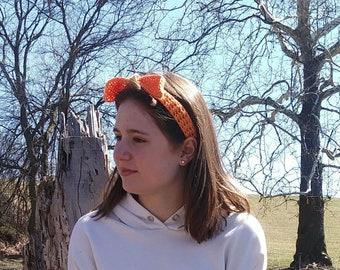 Orange headband, Crochet Headband With Bow