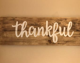 "Large Pallet Sign - ""Thankful"" - Reclaimed Wood - Multiple Colors Available"