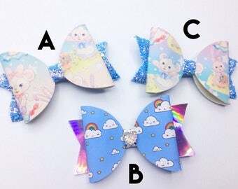 Blue glitter large bow clips