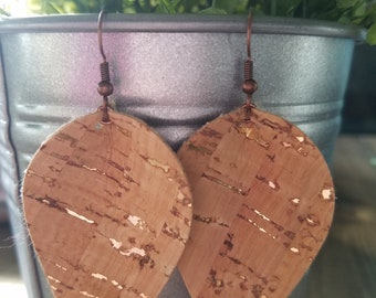 Cork leaf or teardrop earrings