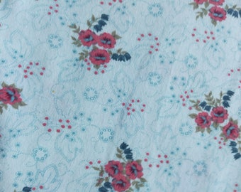 "Floral Cotton Knit Fabric 1 3/4 yards, 70"" wide"