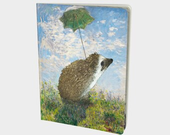 Hedgehog Art History Monet Note Book - Hedgehog Journal - Blank Book - Bullet Journal - Graph Dot Blank Paper - Hedgehog Gift by Urchin Wear