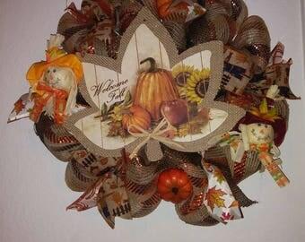 Fall burlap mesh wreath