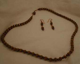 copper frosted and shine bead and pearl necklace and earrings
