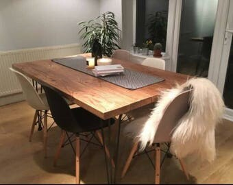 Solid rustic industrial hairpin dining tables numerous finishes and sizes shabby chic