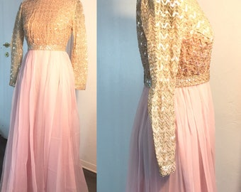 1960 Jack Bryan designed by Dupuis vintage gown long pink evening dress, embroidered bodice with long sleeves sequins