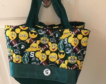 """Mi State Emoji tote/purse with 12"""" green straps & green interior. Great gift for a Mi State student or fan. Hard bottom."""