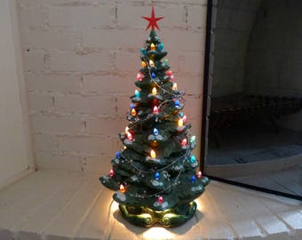 """23"""" Vintage Ceramic Christmas Tree Lighted Ceramic Christmas Tree Pre owned Read condition report"""