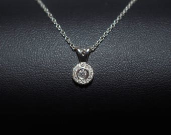 Small Circle Diamond Gold Pendant Necklace, Small Diamond Necklace, Small White Gold Necklace, Gold Diamond Necklace, Mothers Day Gift