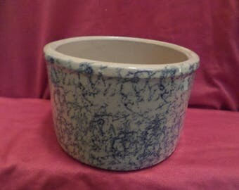 Robinson Ransbottom Blue Spongeware Pottery Butter Crock and Small Pitcher Roseville Ohio #700