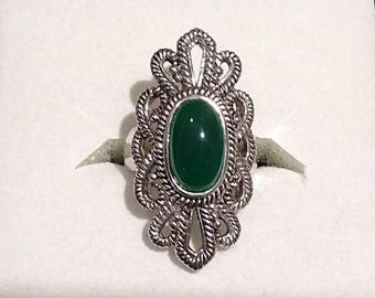 Southwestern Sterling Silver Green Onyx Ring