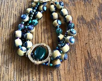 Unique Nangka Abalone three strand bracelet