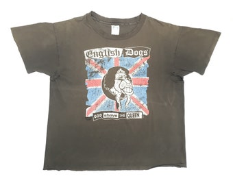 "90s English Dogs ""God Shave The Queen"" vintage band shirt-XL-Gbh, Chaos UK, The Casualties, The Exploited, Total Chaos, Discharge, Amebix"