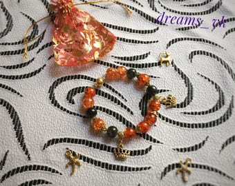 Orange black sparkling bracelet with  pendants gold Sugar beads Magnetic lock Gift for sister Individual size Bijouterie Decoration For her
