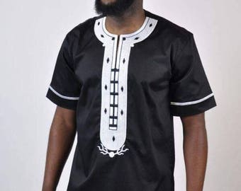 Black Dashiki Design with White Embroidery