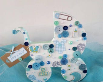 Decorated wooden pram or Rocking horse gift for baby shower, new baby or Christening. Boy, girl or neutral.