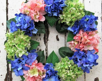 Bright and Colorful Hydrangea Wreath with lovely Purple, Coral and Spring Green Hydrangeas - Ready to Ship