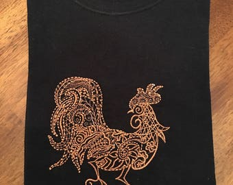 Embroidered Rooster Tee Shirt